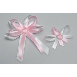 Svatební vývazek s perleťovým srdíčkem - růžová
