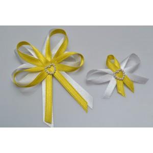 Svatební vývazek s perleťovým srdíčkem - žlutá