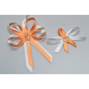 Svatební vývazek s perleťovým srdíčkem - oranžová