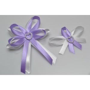 Svatební vývazek s perleťovým srdíčkem - lila