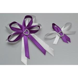 Svatební vývazek s perleťovým srdíčkem - fialová