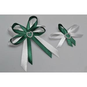 Svatební vývazek s perleťovým srdíčkem - zelená