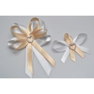 Svatební vývazek s perleťovým srdíčkem - zlatá