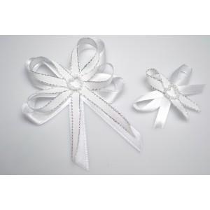 Svatební vývazek s perleťovým srdíčkem - stříbrná