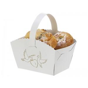 Košíček na koláčky s ouškem - potisk holubičky