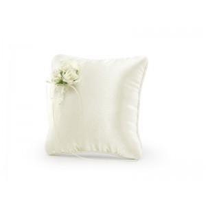 Krémový polštářek s květy
