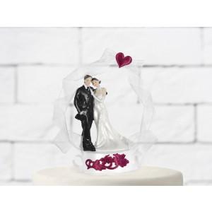 Figurka na dort - ženich s nevěstou - červená