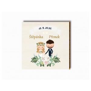 Svatební magnet kreslený pár s girlandou
