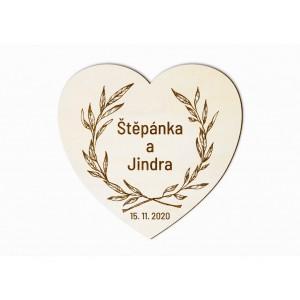 Svatební magnet srdce s věncem