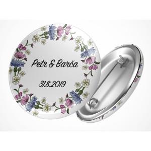 Svatební placka květy v kruhu