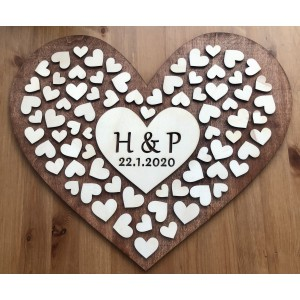 Svatební strom dřevěný ve tvaru srdce