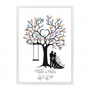 Svatební strom s ptáčky v rámu